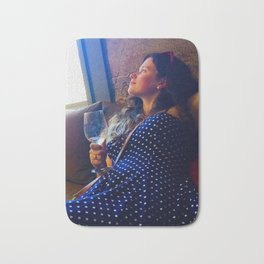 Girl drinking wine in Napa Valley wine country Bath Mat
