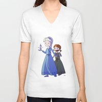 frozen V-neck T-shirts featuring Frozen by Kaori