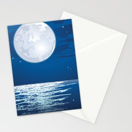 Moonlit path on the sea Stationery Cards