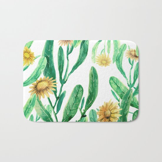yellow flowers on sunny day Bath Mat