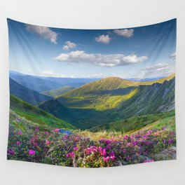 Floral Mountain Landscape Wall Tapestry