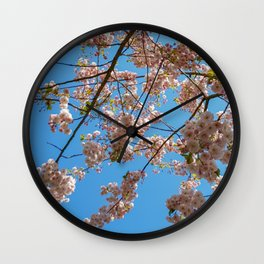 Cherry Blossoms and Blue Sky at Kew Gardens 2019 Wall Clock