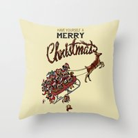 pugs Throw Pillows featuring Pugs Christmas by Huebucket