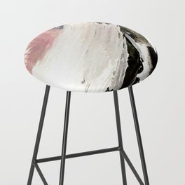 Crash: an abstract mixed media piece in black white and pink Bar Stool