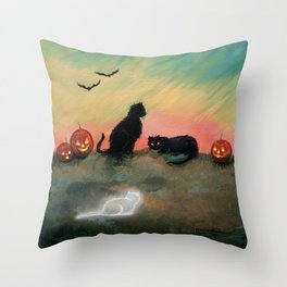 Ghost Cat Halloween Fantasy Art by Molly Harrison Throw Pillow