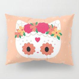 Flower Crown White Sugar skull Cat Pillow Sham