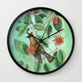 Bohemian Waxwing with Carolina Allspice, Antique Natural History Collage Wall Clock