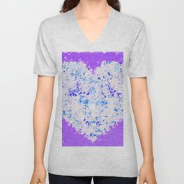 blue and white heart shape with purple background Unisex V-Neck
