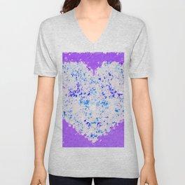 blue and white heart shape with purple background Unisex V-Neck