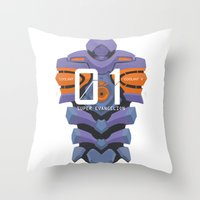 evangelion Throw Pillows featuring EVANGELION ANIMA UNIT 01 BACK by F4LLEN_LEAF