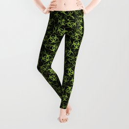 Biohazard (green on black) Leggings