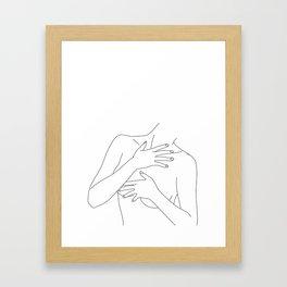 Nude figure line drawing - Ellen Framed Art Print