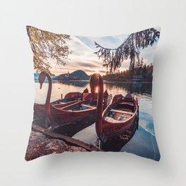 swan boat Throw Pillow