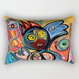 Yellow Life With Birds Street Art Rectangular Pillow