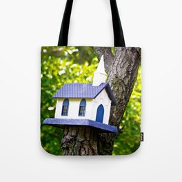 Church Birdhouse in a Tree Tote Bag