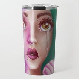 Crying Alien Girl in Space Travel Mug