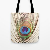 peacock Tote Bags featuring Peacock by Laura Ruth