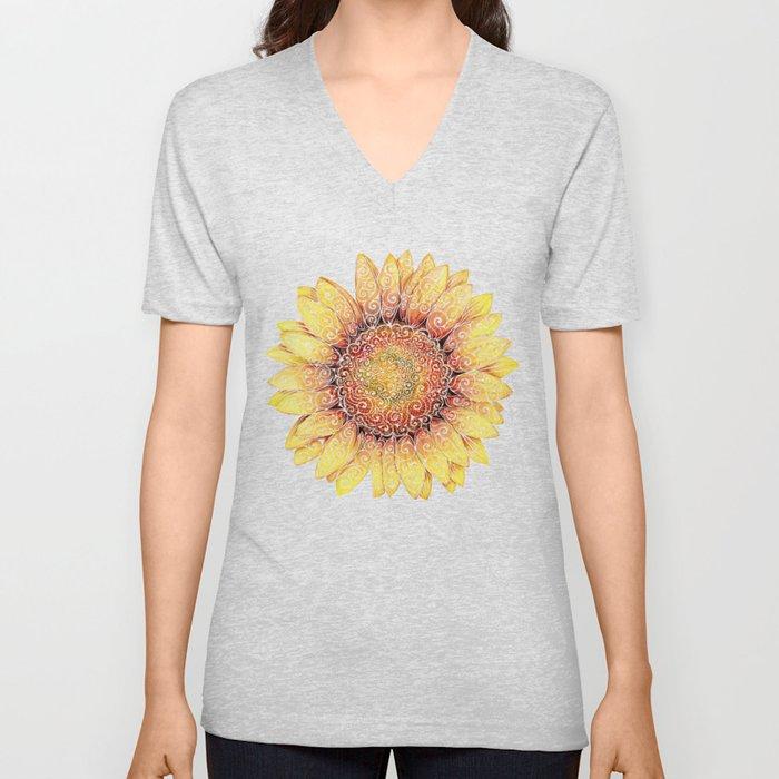 Swirly Sunflower Unisex V-Neck