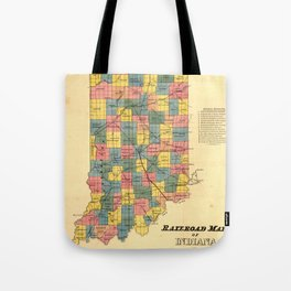 Vintage Indiana Railroad Map (1852) Tote Bag