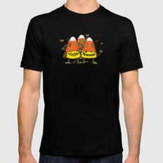 Candy Corn Bots MEDIUM Mens Fitted Tee Black