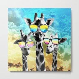 Crazy Cool Giraffe Metal Print