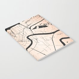 New Orleans Rose Gold and Black Map Notebook