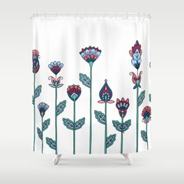 Spring Flowers White Shower Curtain