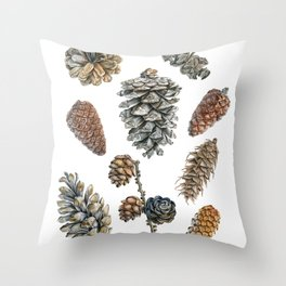 Watercolor hand painted cones Throw Pillow