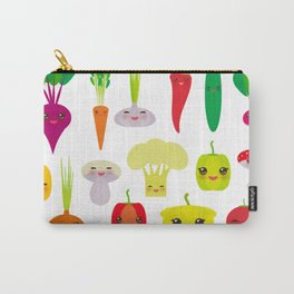 Kawaii vegetables peppers, pumpkin beets carrots, eggplant, red hot peppers, cauliflower, broccoli Carry-All Pouch