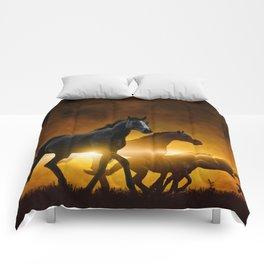 Wild Black Horses Comforters