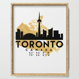 TORONTO CANADA SILHOUETTE SKYLINE MAP ART Serving Tray