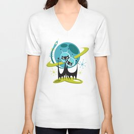 Galactic Cats 2 by Art of Scooter Mid Century Modern Art Unisex V-Neck