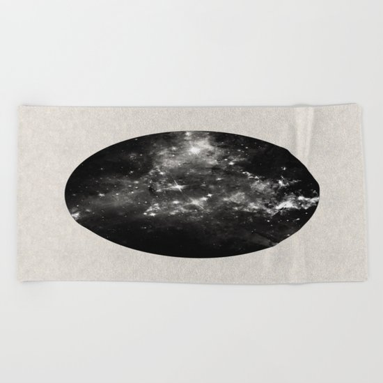 God's Window - Black And White Space Painting Beach Towel