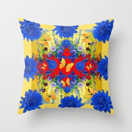 YELLOW GARDEN BLUE  FLOWERS YELLOW BUTTERFLIES PATTERN ART Throw Pillow