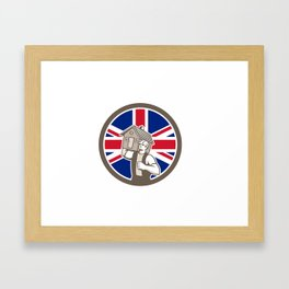 British House Removal Union Jack Flag Icon Framed Art Print
