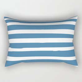 Ocean Stripes, Nautical Blue and White Rectangular Pillow