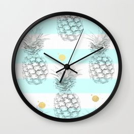 Pineapple express - aqua stripe gold splat Wall Clock