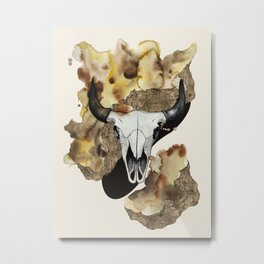 Buffalo Skull by carographic Metal Print