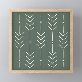 Arrow Lines Pattern in Forest Sage Green 2 Framed Mini Art Print