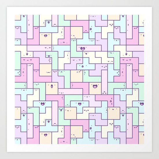 Kawaii Tetris Art Print