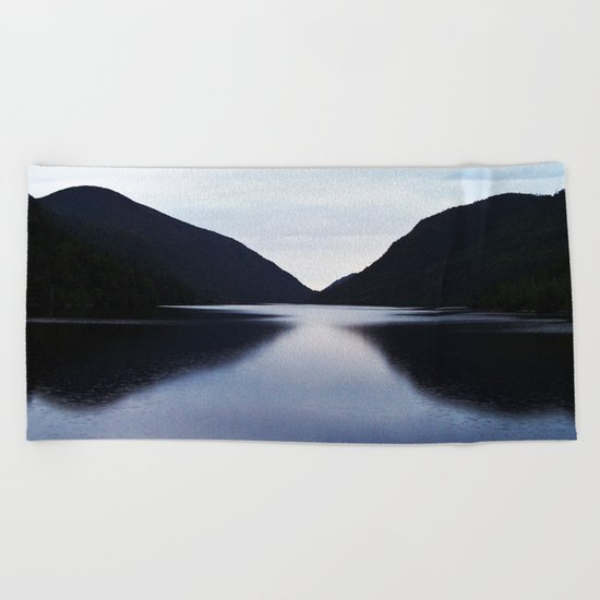 Mountain Lake Reflection Beach Towel
