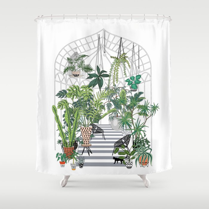 Shower Curtains.Greenhouse Illustration Shower Curtain By Anyuka