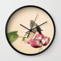 wesley bird Wall Clocks featuring Bird by Pure Nature Photos