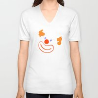 clown V-neck T-shirts featuring clown by siloto