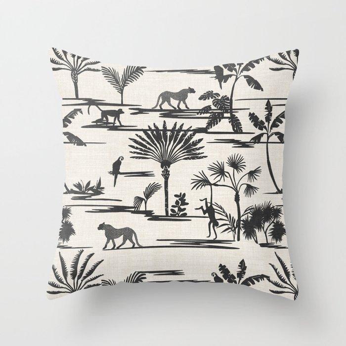 JUNGLE THRIVE BLACK Throw Pillow