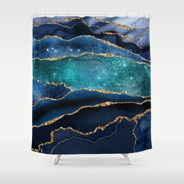 Blue Night Galaxy Marble Shower Curtain