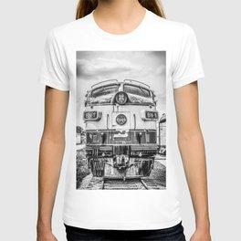 Cab Forward Black and White Vintage BN-1 EMD Train Locomotive T-shirt