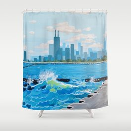 City on the Lake Shower Curtain