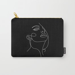 Woman In One Line Black Backgraund Carry-All Pouch