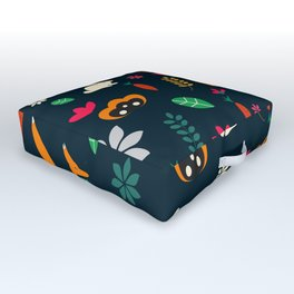 Cute little animals among flowers Outdoor Floor Cushion